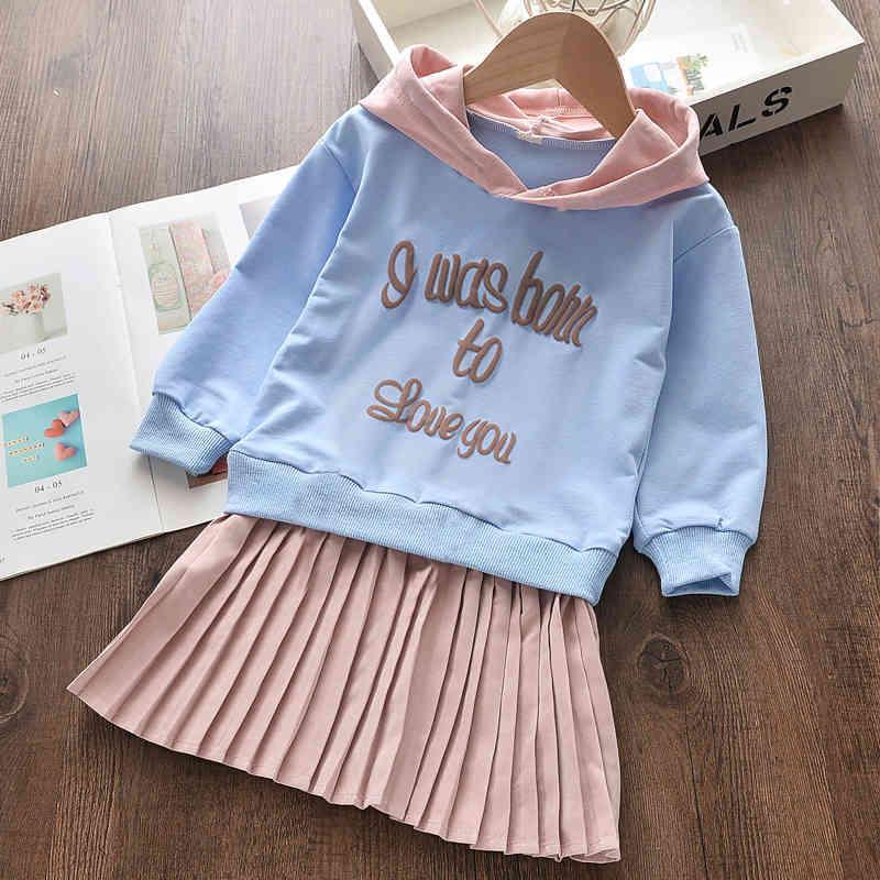 Melario Baby Girls Dress New Spring Casual Ruffles A-Line Striped Full Sleeve Kids Dress for 3T-7T Autumn Letter Vestido 210412