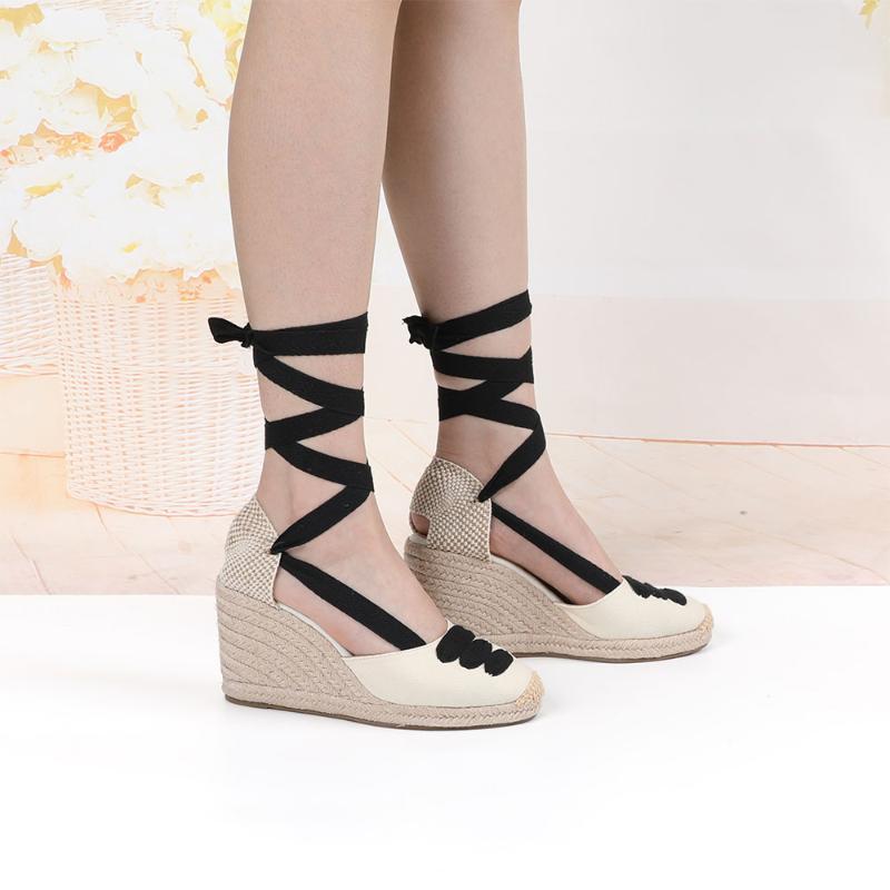 Wedge Wedge Espadrille Tobillo Strap Sandals Cómodo zapatillas para mujer zapatos casuales zapatos casuales transpirable lona de lona bombas