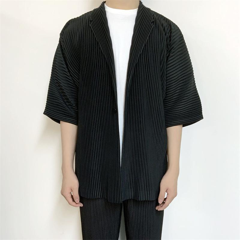 الرجال الدعاوى الحلل مياكي مطوي قصيرة الأكمام قميص 2021 الربيع الصيف اليابانية دعوى دعوى سترة