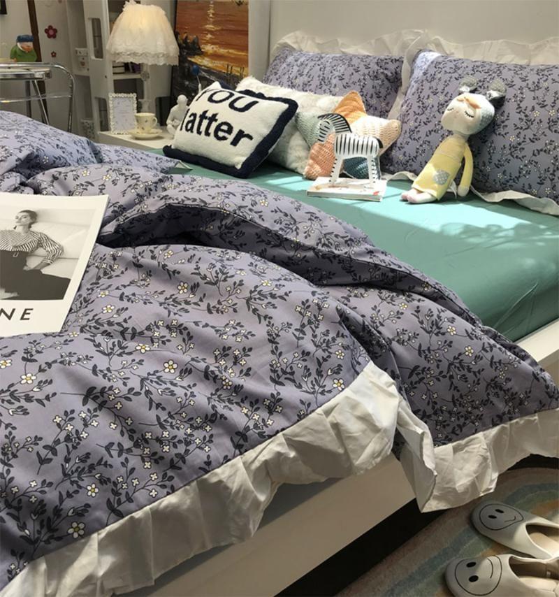 Yatak takımları Fairyfair Pastiral Çiçek Seti, Zarif Fransız Çiçek Pamuk İkiz Tam Kraliçe Ev Tekstili Çarşaf Yastık Yorgan Kapak