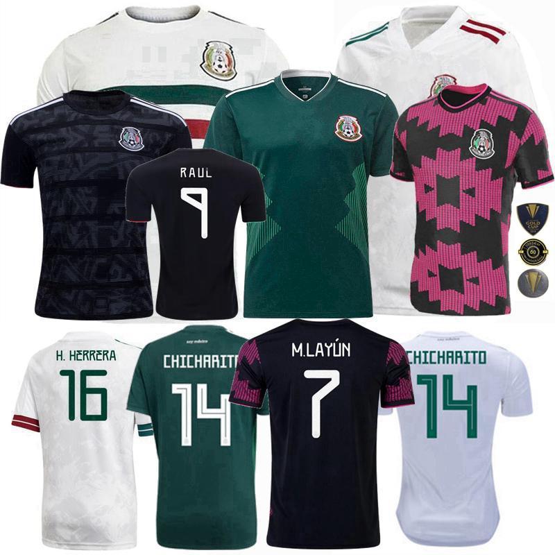 2021 2022 Mexique Soccer Jerseys Équipe nationale H.Moreno Raul H.Lozano Chiharito 20 21 22 Hommes de football Chemise pour enfants et femmes