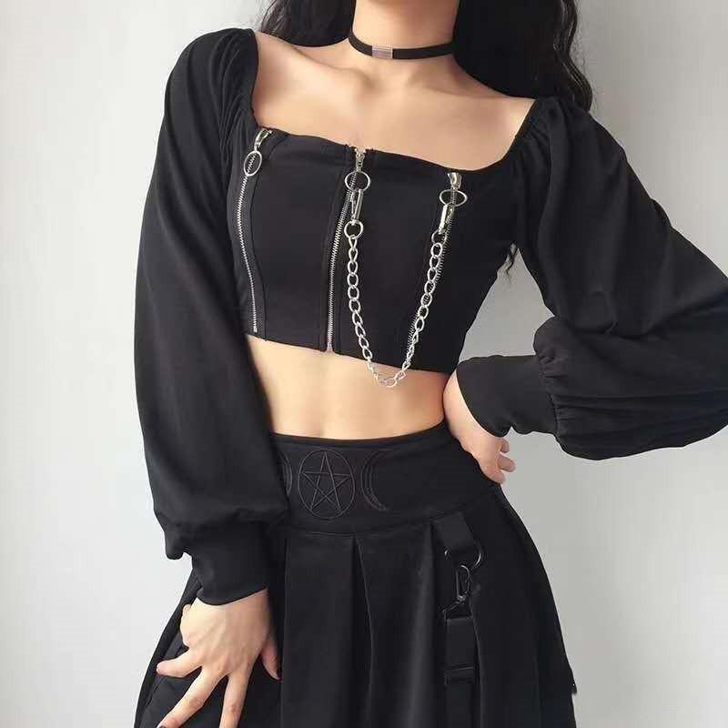 T-shirt Goth Zip Up Crop Top Donne Off T-shirt T-shirt a maniche lunghe Y2K T-shirt Gothic Dark Black Vintage Vestiti da donna