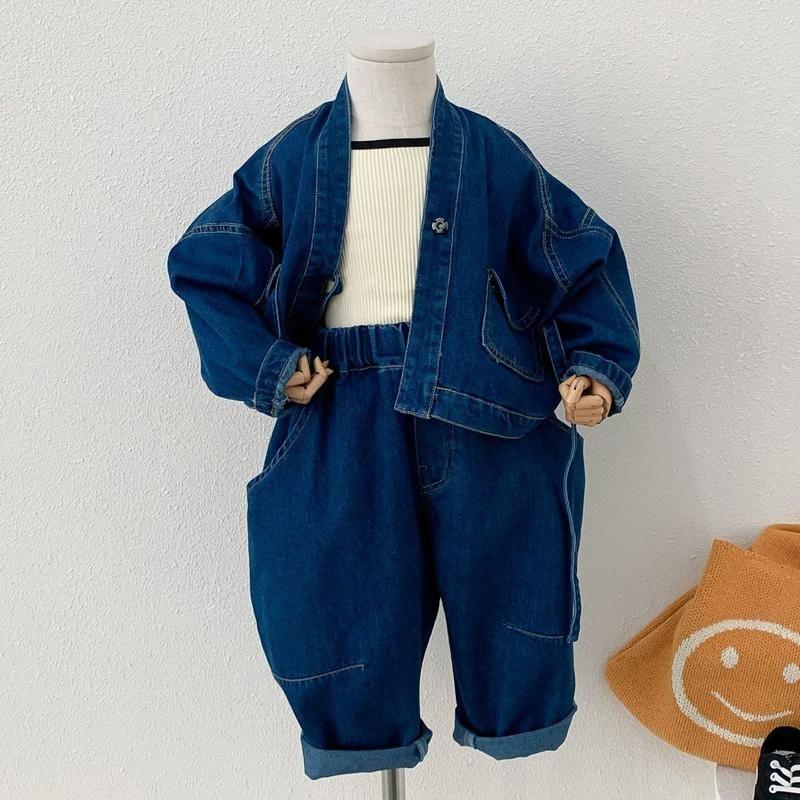Giyim Setleri Çocuk Giysileri Bahar Bebek Erkek Kız Japonya-Kore Tarzı Denim Suit Gevşek Uzun Kollu Ceket + Havuç Pantolon 2 adet Kıyafet