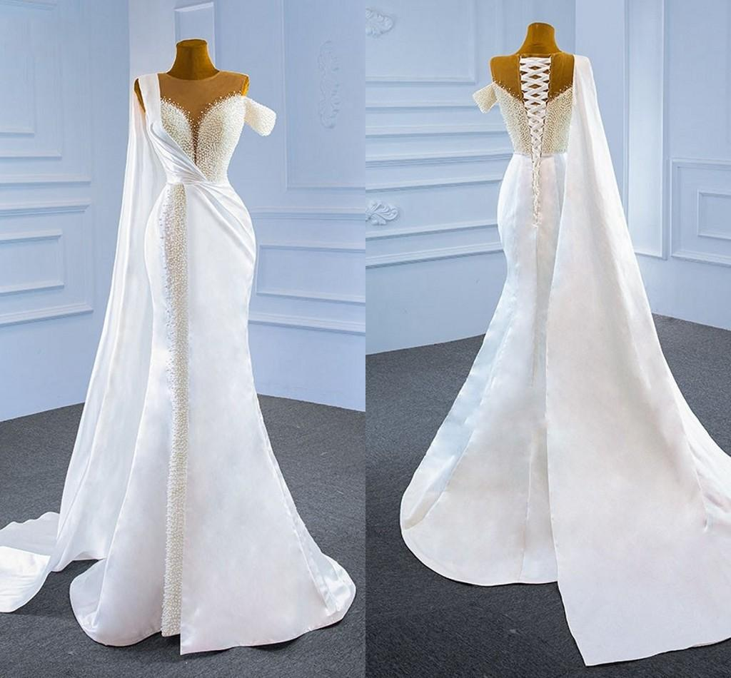 2021 Luxurious Pearls Mermaid Wedding Dress With Wraps Satin Sheer Boat Neckline Cap Sleeve Lace-up Trumpet Bridal Dresses Women