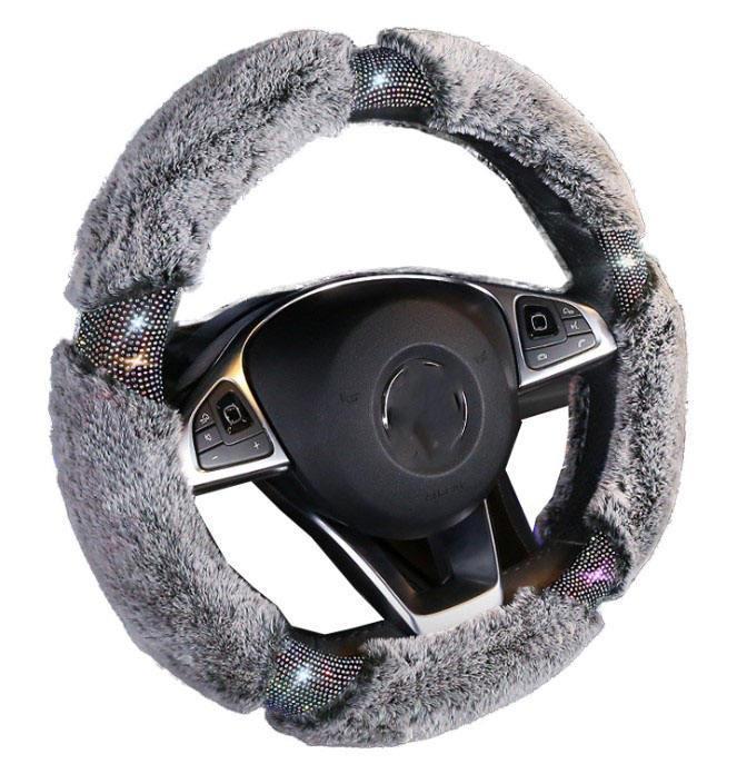 Direksiyon simidi peluş elmas kolu kapak sıcak renk kış araba kapakları