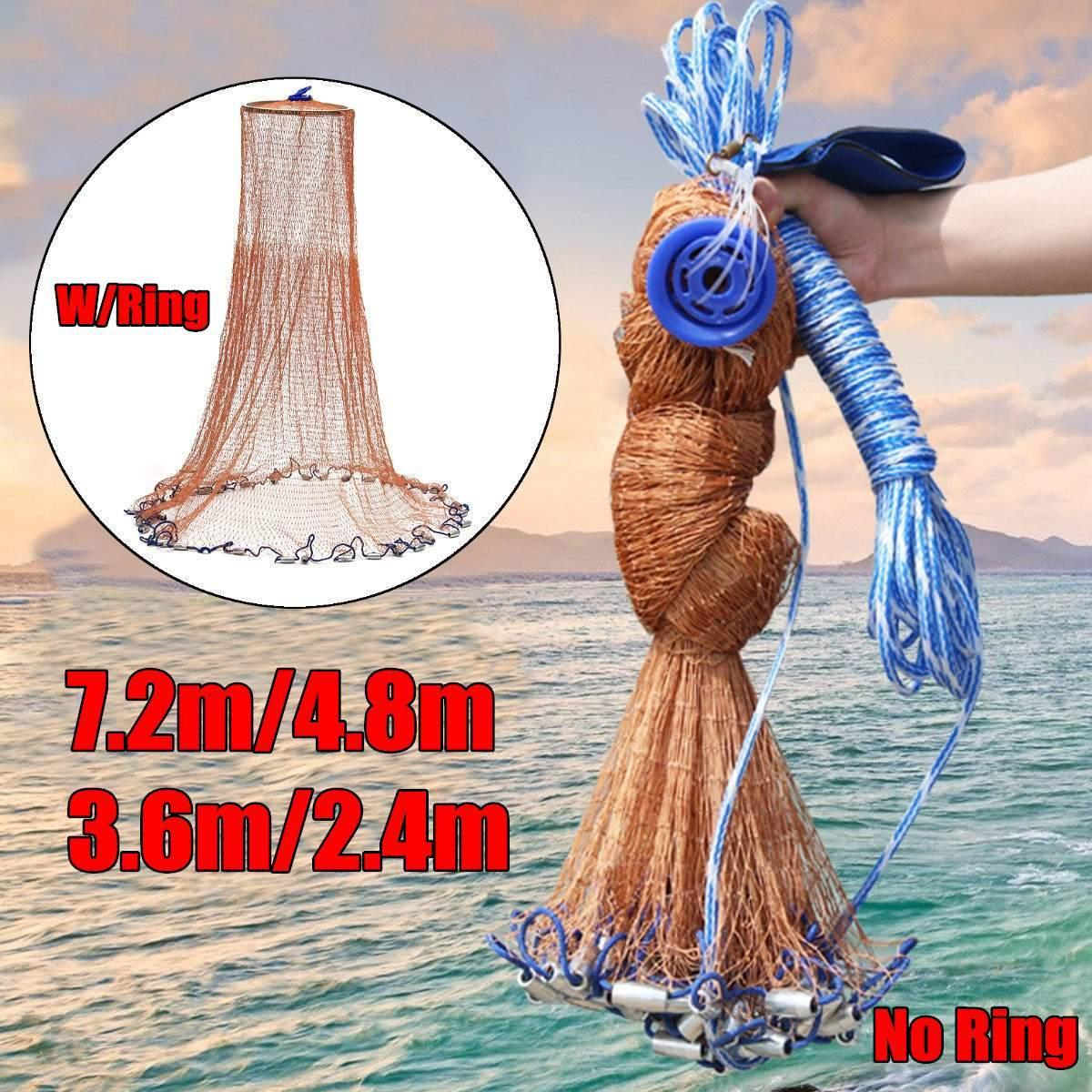 7-Style American Hand Cast Net Fish Finder Fishing With Flying Disc High Strength Fly Network 7.2/4.8/3.6/2.4M Throw Ring Large Nets Magic Lead Sinkers Tyre Nylon Bait Traps