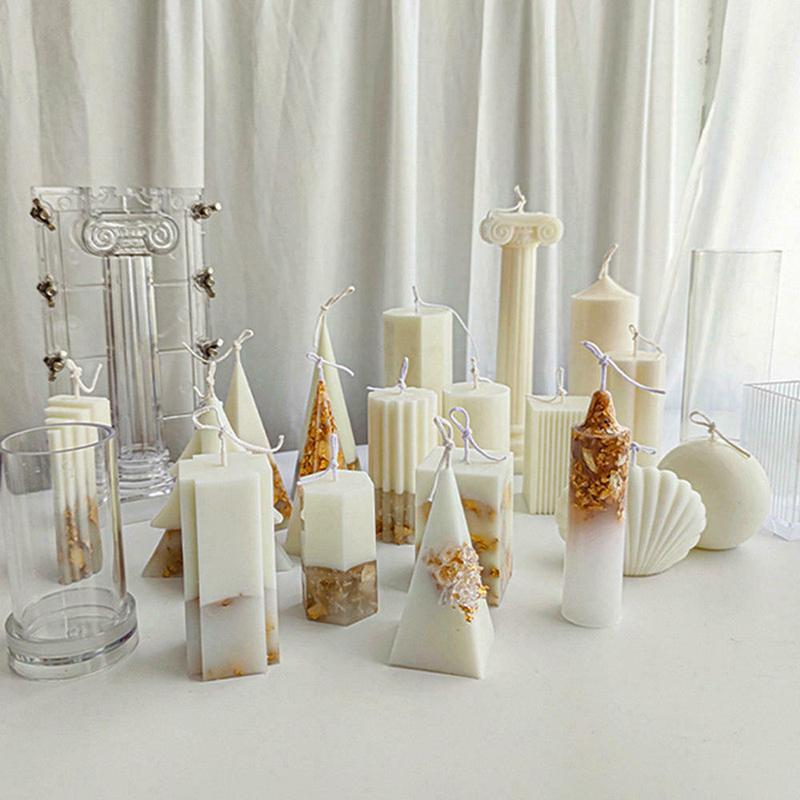 Clear Plastic DIY Wax Melt Candle Moulds Gypsum Making Mold Craft Cross Square/Round Ball/cylinder Tools
