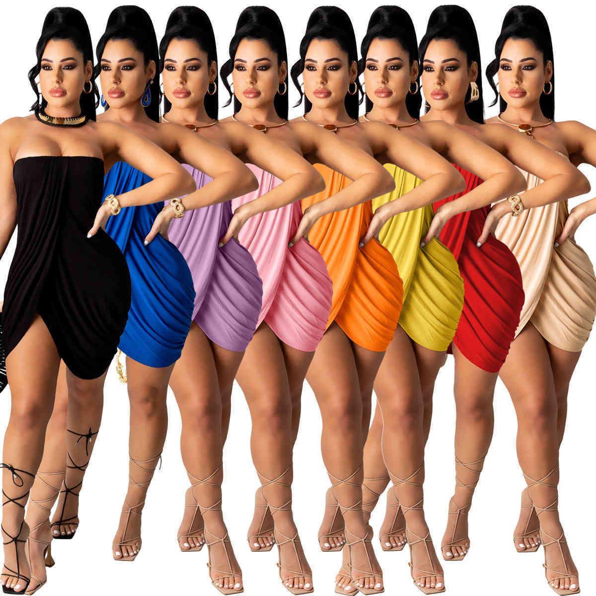 Sommer Frauen trägerlos Kleid aus Schulter Röcke Crop Top Bodycon Split Röcke Sexy Kleidung plus Größe S-2XL Skinny Packaged Hip Rock