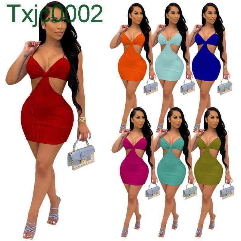 Women Dress Designer Slim Sexy Dresses With Chest Shoulder And Back Hollow Out Sling V Neck Solid Colour Skirt