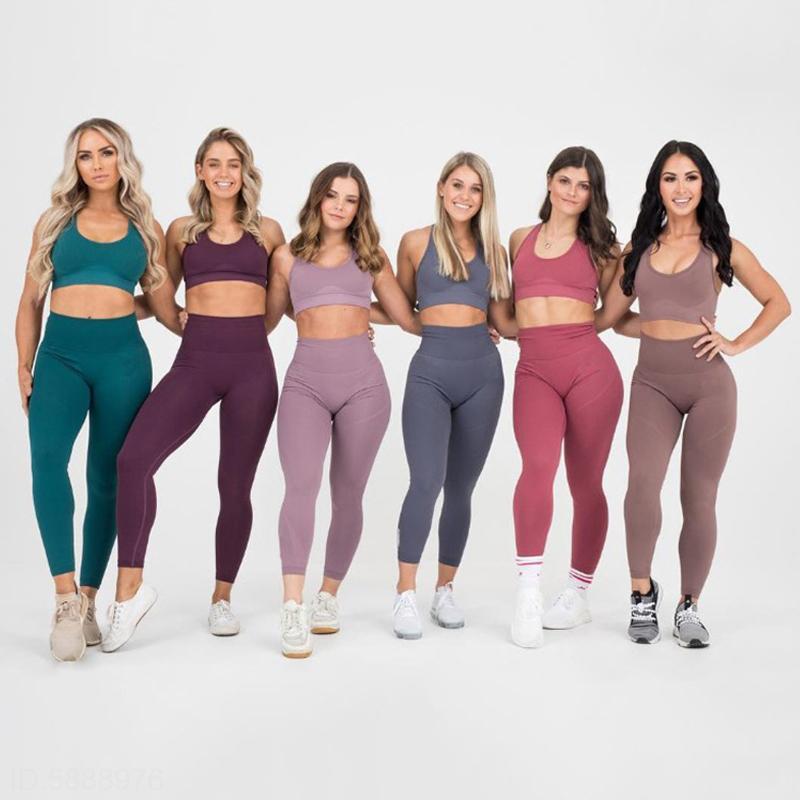 Yoga Sets Frauen 2 Stück Set Leggings + Elastische Sport BHs Frau Fitnessstudio Kleidung Fitness Sportswear Training Nahtlose Sportanzüge 210417