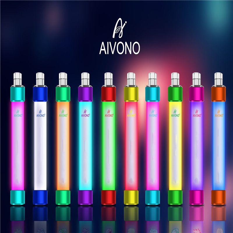 Authentic AIVONO AIM BURABLE DESECHABLE VAPLE VAPE E Dispositivo de cigarrillo con luz RGB 650mAH batería 4ml cartucho precargado POD 1000 Puffs Glowin