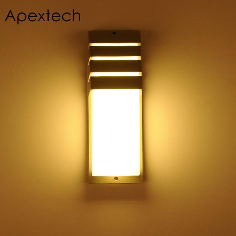 مصابيح الحائط في الهواء الطلق Apextech LED مصباح 20W 1800LM الحديثة الشمال نمط للماء حديقة ضوء IP65 شرفة أضواء الشرفة AC85-265V