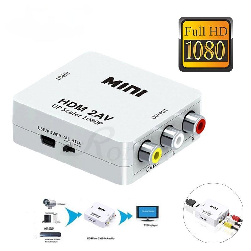 HDMI uyumlu AV Scaler Adaptörü HD Video Kompozit Dönüştürücü Kutusu HD RCA AV / CVSB L / R Video 1080 P Destek NTSC Pal