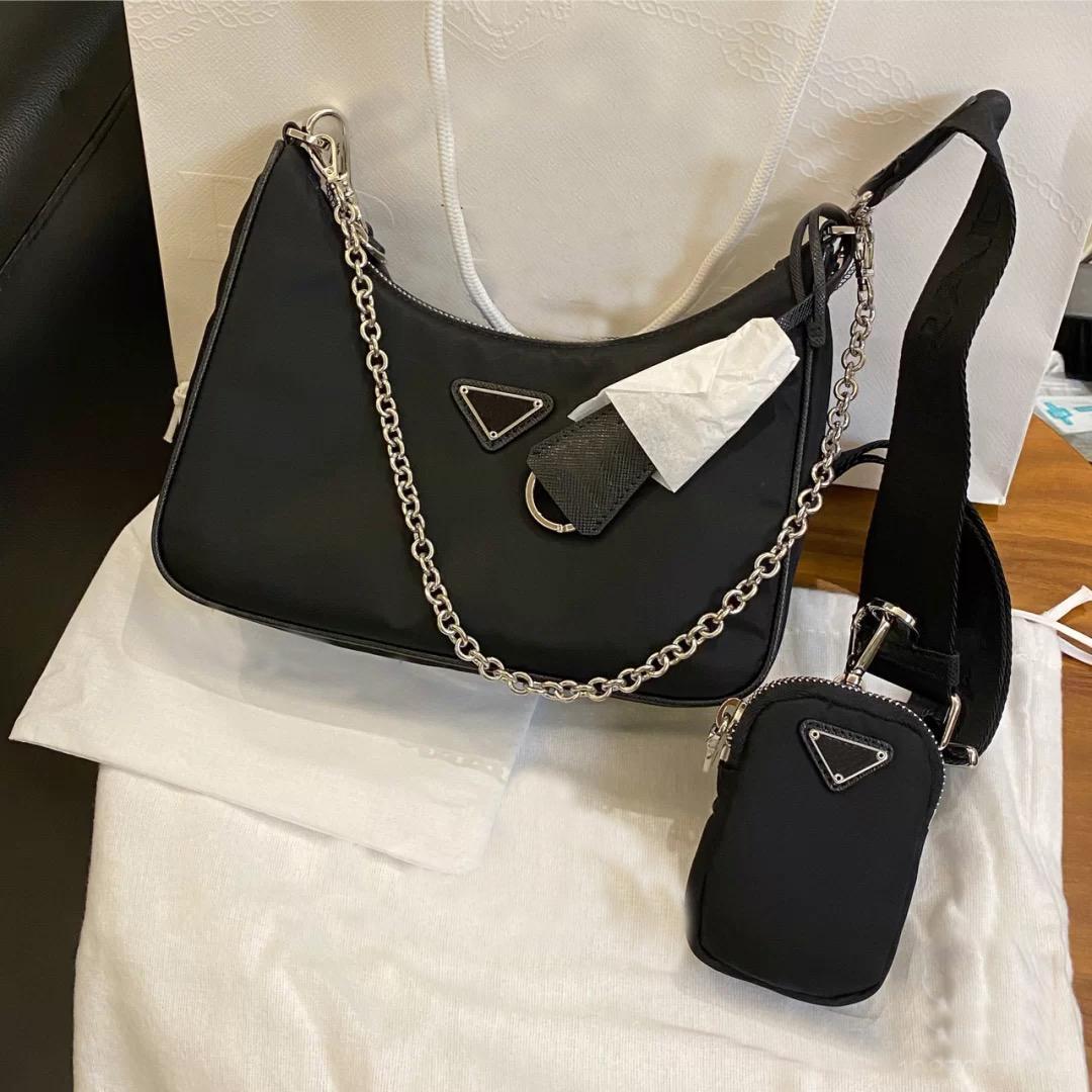 Diseñador bolso de lujo2 piezas 2021 bolso de hombro de hombro de alta calidad bolsos de nylon vendiendo mujeres lujos diseñadores de moda bolsas clásicas damas diagonales