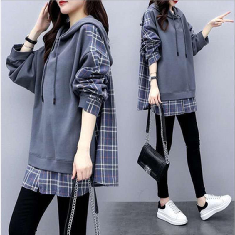 Femmes Casual Fake Sweats en deux pièces Sweatshirts Mode Chemise à carreaux de style britannique surdimensionné Pull Sport S21008 Femme