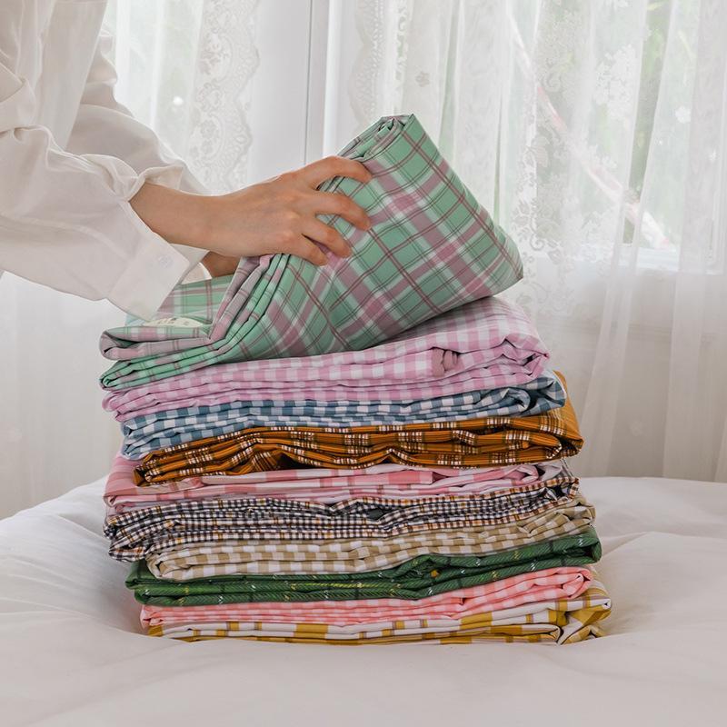 2021ins Japanese Nordic Simple Lattice Cloud Cotton Four Piece Bedding Set