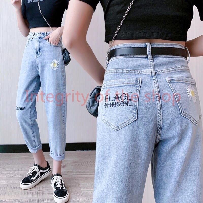 Fashion Chic Donne Pants Graffiti Print Casual Girl Jeans Flower Straight Blue Vintage Pantaloni da strada Eart Street per Jeans