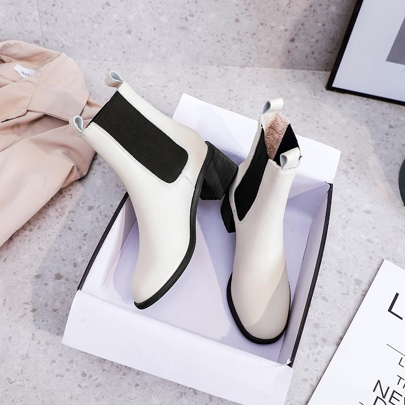 Women Silhouette Ankle Boot Martin Boots Winter Genuine leather Botas Stretch Fabric Bootie Print Flower Heel Ladies Casual Shoes with box