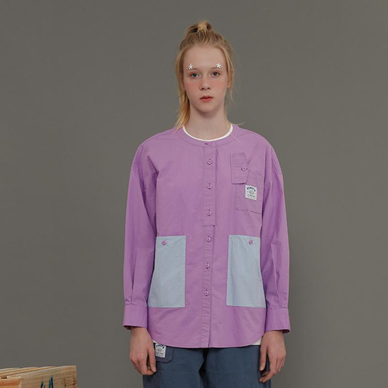 İlkbahar Sonbahar Tasarımcı Kadın Pamuk Bluz Mor Patchwork O Boyun Uzun Kollu Bayanlar Gevşek Gömlek Tops 210515