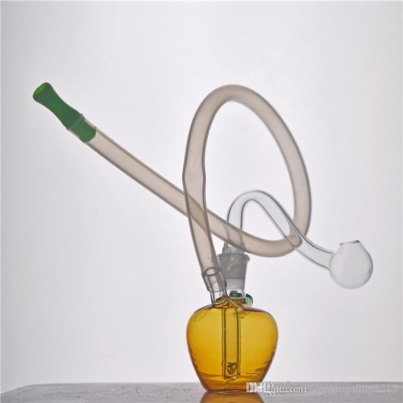 Apple shape Glass Oil Burner Water Bong pyrex glass oil burner pipes small Bubbler Bong MiNi recycler hookah with silicone tube 1pcs