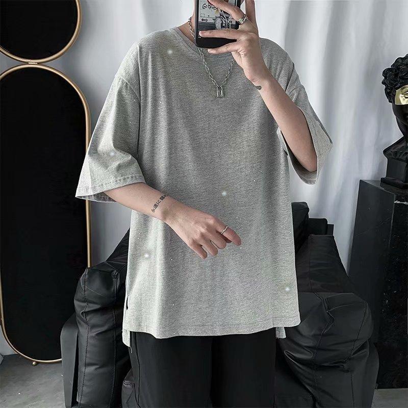 Yaz Moda Gençlik T Shirt Eğlence Eğilim Yüksek kaliteli Baskı Katı Renk Yuvarlak Yaka Kısa Kollu Gevşek Öğrenci Erkek Giyim