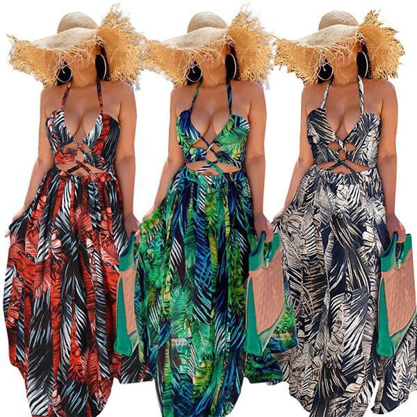 ضمادة الرسن عارضة فساتين النسائية الصيف مثير جوفاء عارية الذراعين سبليت عالية الخصر فستان طويل ماكسي للنساء