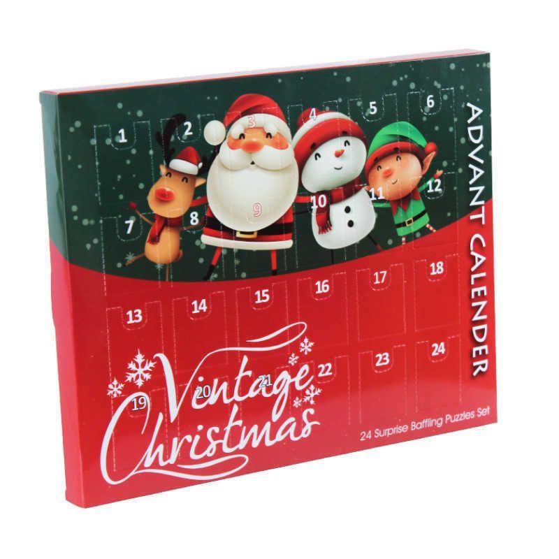 크리스마스 출현 카운트 다운 캘린더 24pcs 금속 와이어 퍼즐 장난감 산타 sonwman 크리스마스 카운트 다운 깜짝 선물 G87CNQ5에 대 한 깜짝 상자