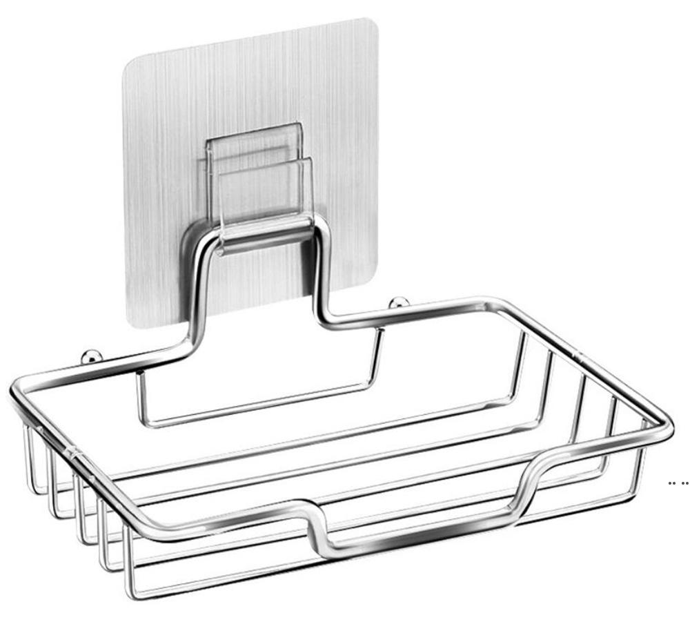 Sabonete de aço inoxidável de fábrica suporte de prato com bandeja de rack autocolante Self-Draing Saver Cesta de esponja Cozinha Hwe5625