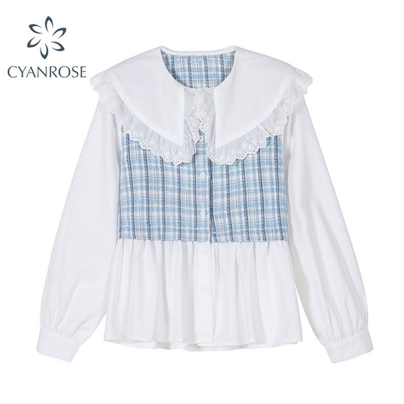 Autunno stile coreano donne camicia manica lunga manica patchwork pizzo peter pan collare casual elegante camicetta top femminile chic 210515