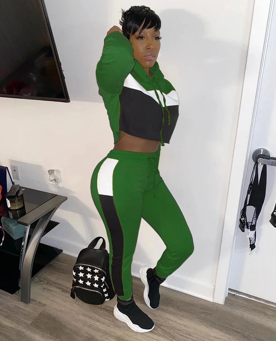 Sweatpant Club Outfit Trainingsanzüge Patchwork Casual Hooded Two Piece Set Frauen Langarm Sporty Loungewear Hoody und Plus Größe S-2XL
