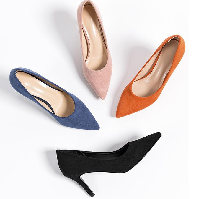 Women Leather High Hee Pumps Pointed Toe Work Pump Stiletto Wedding Shoes Office Career Elegant Lady's Sandals