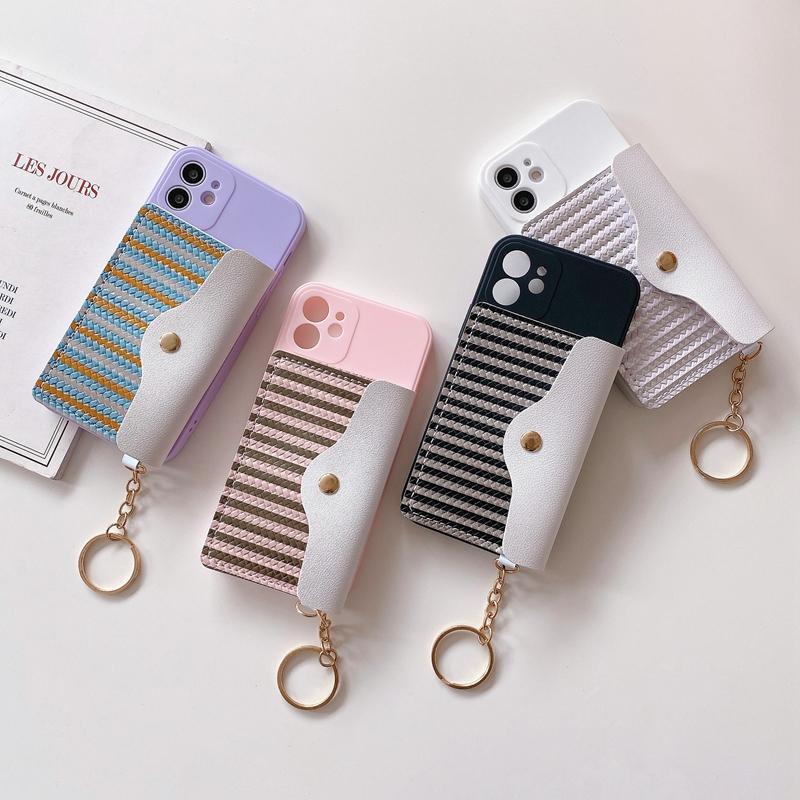 럭셔리 소프트 TPU 케이스 팩 지갑 가죽 가죽 파우치 아이폰 13 프로 최대 미니 12 11 x xr 8 7 6 크롬 줄무늬 동전 지갑 현금 카드 포켓 전화 다시 커버 여자 키 체인