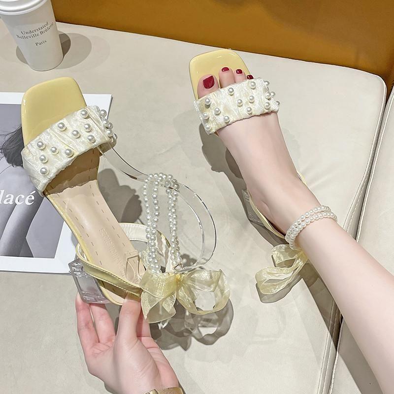 Kleid schuhe kunststoff sandal weibliche schuh med 2021 frauen block heels transparent mädchen mittelperlenkomfort chlocken klumpen klar hohe gladiator