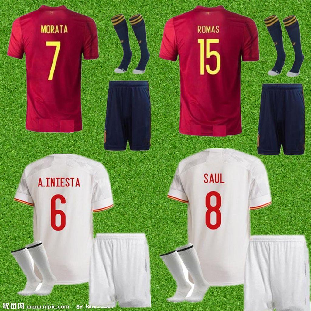 الرجال + أطقم أطفال إسبانيا Home Red Soccer Jersey 20/21 Paco Alcacer A.Iniesta Sergio Shirt Ramos Asensio ISCO Saul Football Offe