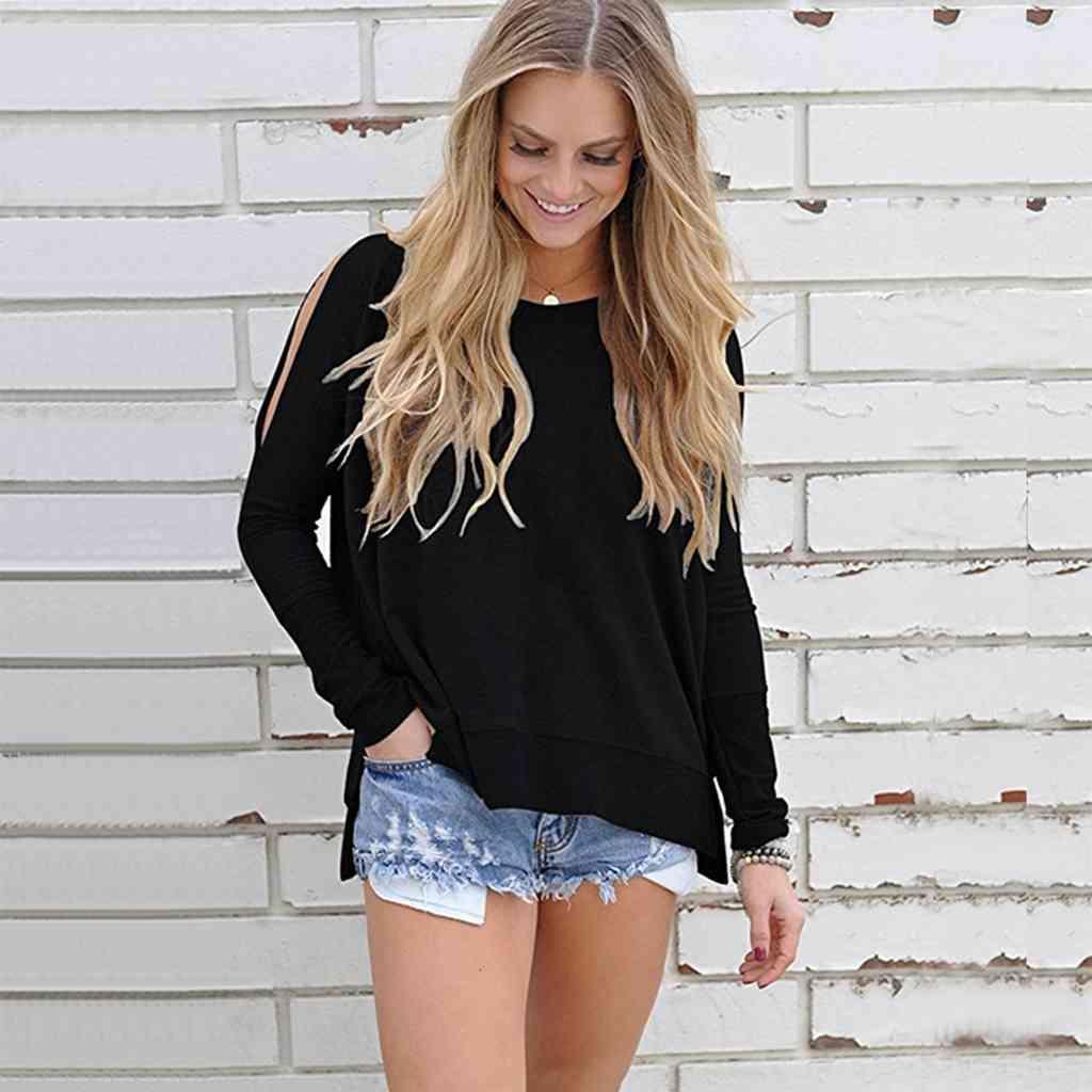 New Fashion Women Donne a spalla a freddo Casual T-shirt a maniche lunghe T-shirt