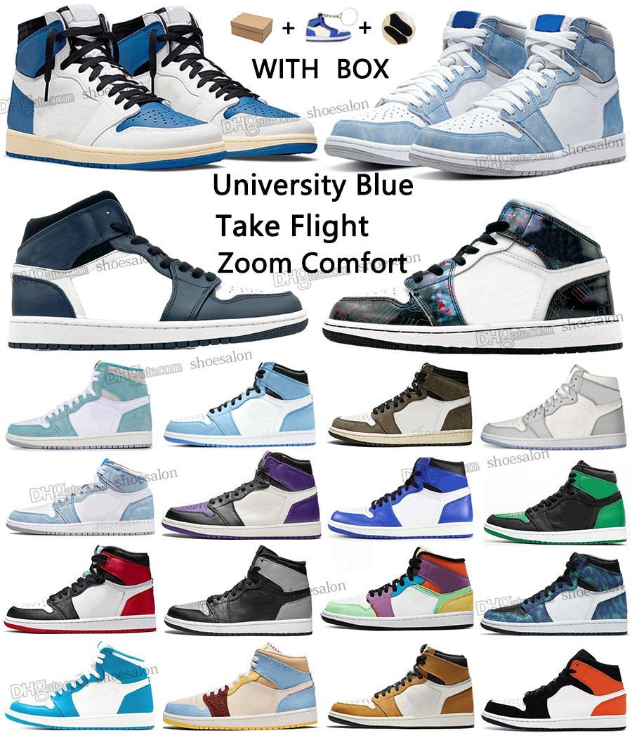 University Blue 1 Basketball Shoes Jumpman 1s 높은 반응 어두운 모카 오렌지 군사 UNC 촬영 비행 줌 줌 편안한 가벼운 연기 팀 붉은 꽃가루 남성 여성 운동화