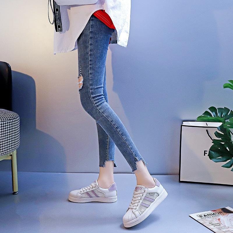 2021 Bayan Yeni Ayakkabı Bahar Kabuk Toe Rahat Ayakkabılar için Kore Tarzı Nefes Kurulu Ayakkabı Tek Katmanlı Örgü Bayan Mesh Yüzey Ayakkabı