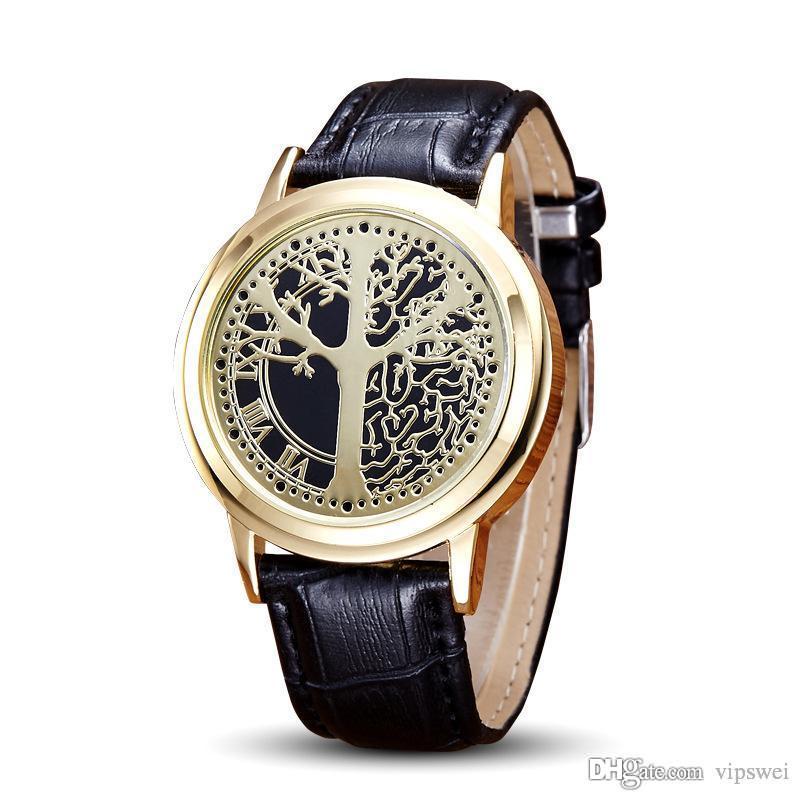 Personalidad unisex Minimalista PU A prueba de agua Reloj LED Moda Hombres y mujeres Pareja Relojes de pulsera Electrónica Árbol Casual Life Toque los relojes