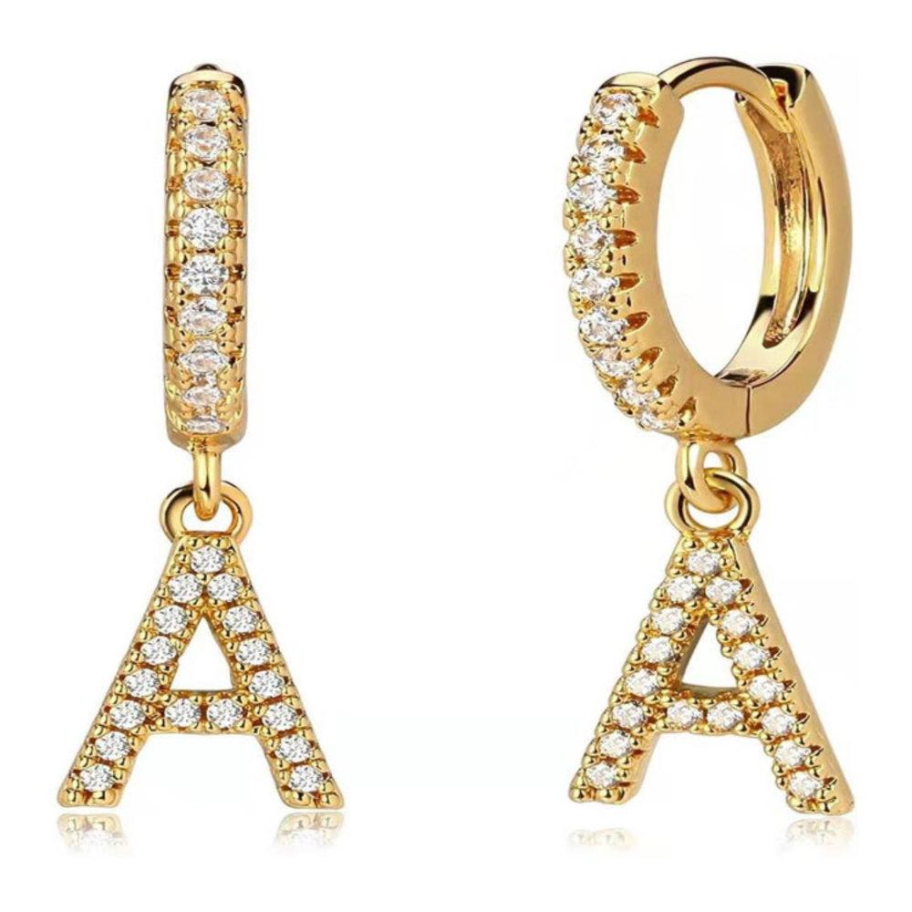 26 Buchstaben Ohrringe Zirkon vergoldete Ohrringe Frauen