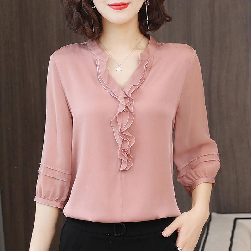 Spring Summer Style Chiffon Casual Women Shirt Half Lantern Sleeve V Neck Ruffles Decor Blusas Tops DF3732