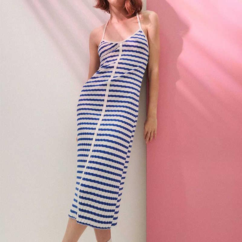 ZA Sommer Frauen Breasted Striped Strap Kleid Ärmelloses Backless Female Strand Midi Kleid Vestidos DWDD60593 210603