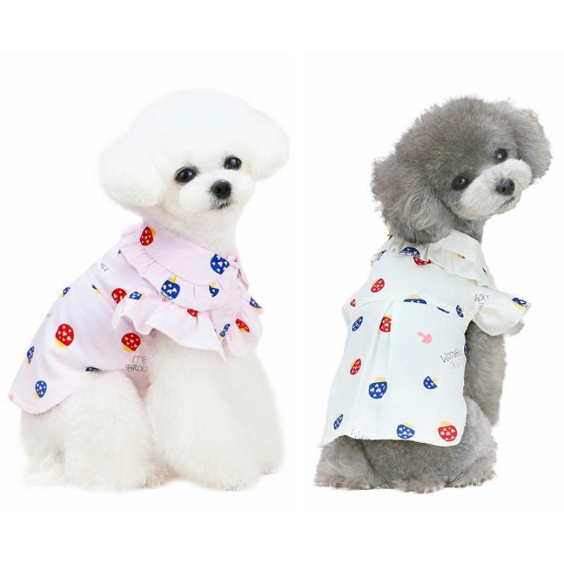 PET PERRO SERVIO Camiseta delgada Puppy Cat Pullover Transpirable Fruit Ropa Linda cómoda ropa de dos patas