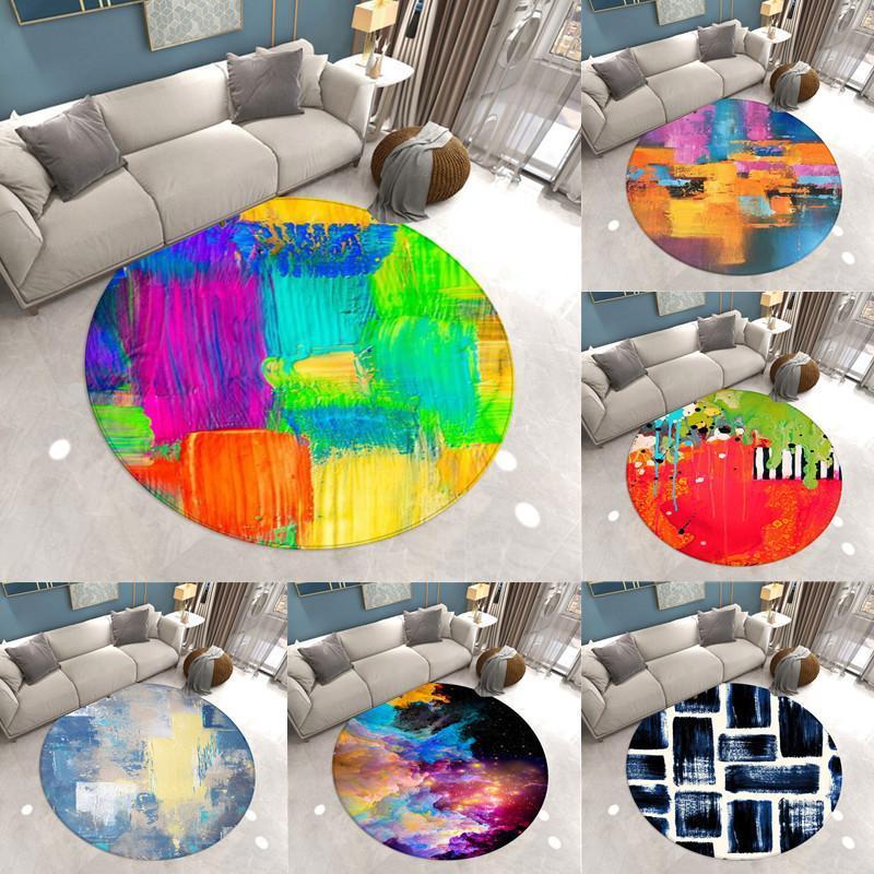 Ковры Цвета шаблон круглый коврик для ковровного стула мягкий для гостиной противоскользящий коврик для спальни