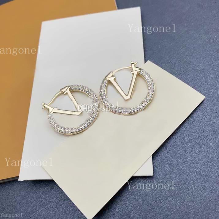 Mode Diamanten Gold Creolen Ohrringe Stud für Dame Frauen Party Hochzeit Liebhaber Geschenk Engagement Schmuck FO R Braut