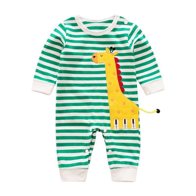 Стиль осень родился детская детская одежда девушка мальчики ромпер милый жираф полосатый с длинными рукавами хлопчатобумажная детская одежда одежда