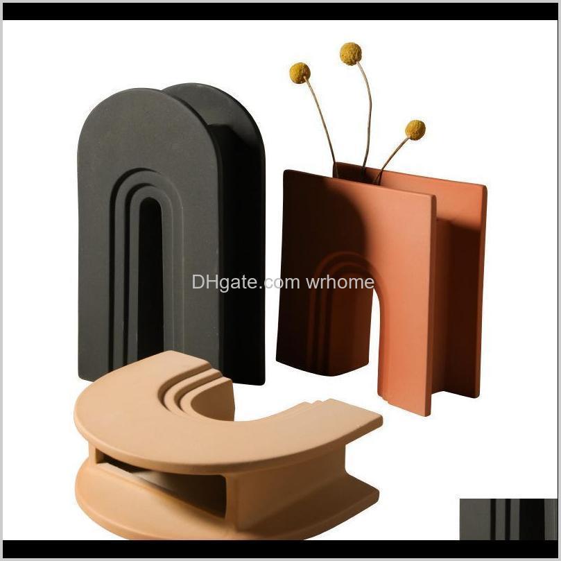 Décor & Gardennordic Art Geometric Vase Creative Ceramic Living Room Desktop Modern Home Decoration Aessories Flowers Vases Gift Ideas Drop