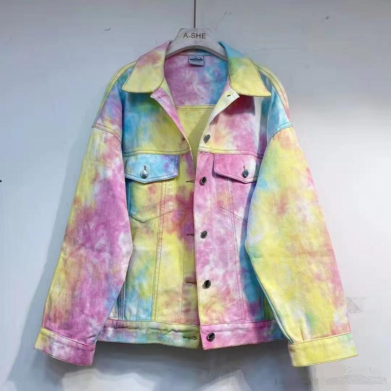 Sprirng outono 2021 tie tintura cor gradiente jaqueta jaqueta de jaqueta lavar jean casaco outwear coreano top harajuku roupas femininas
