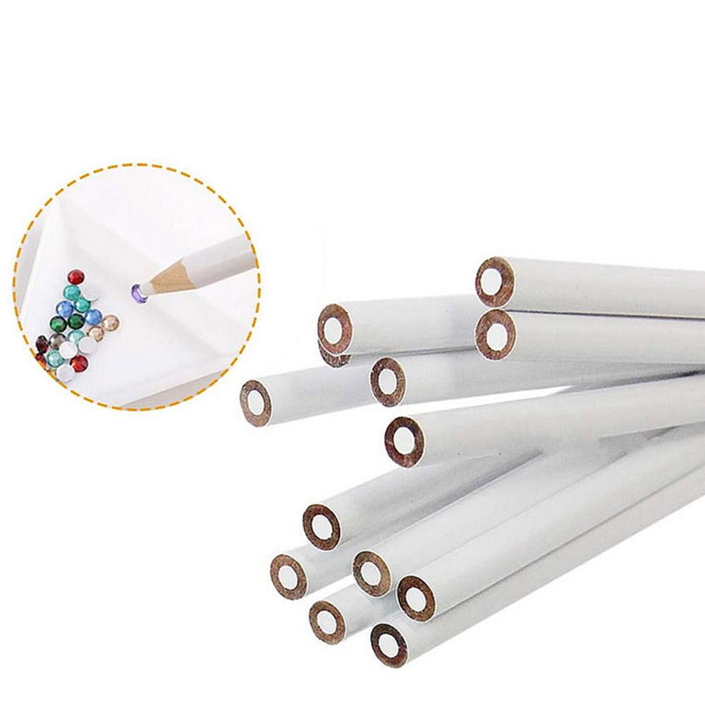 10pcs/lot White Wax Nail Rhinestones Picker Dotting Pen DIY Pencils Design Picking Crystal Gems Nail Point Dotting Pencil Tools