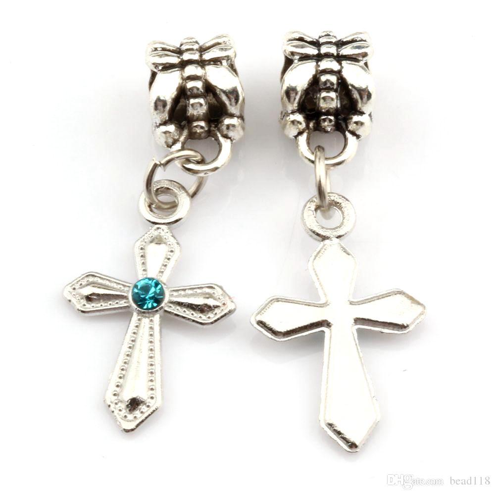 100 pcs / lue azul strass espada em forma de charme cruz dangle bead para jóias fazendo bracelete conclusões de colar 12mm * 31mm