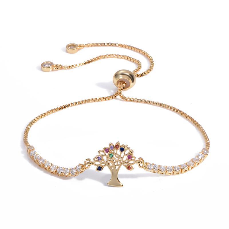 Ladies Golden Rainbow Tree Bracelets And Jewelry Micro-inlaid Zircon Adjustable Femme Chain Charm